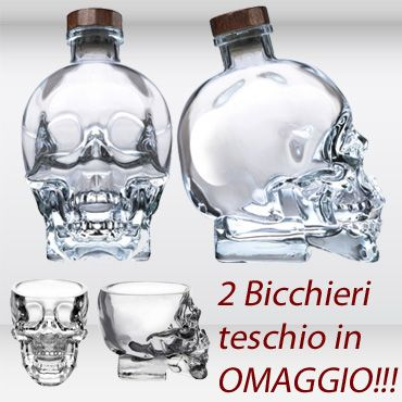 Vodka Cristal Head 1,750L + 2 Bicchieri Teschio
